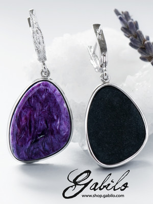 Silver charoite earrings