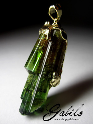 Certified polychrome tourmaline in gold