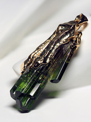 Green Tourmaline Gold Pendant