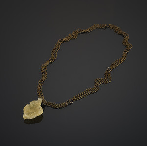 Pendant with Libyan glass on bronze chains