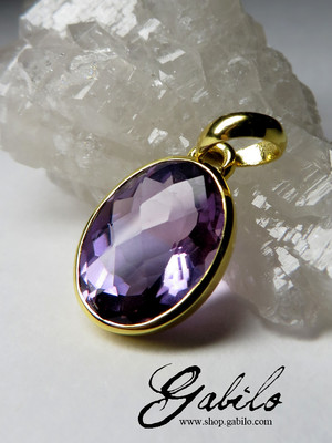 Made to order: Gold pendant with amethyst