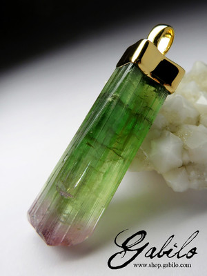 Polychrome Tourmaline Crystal Gold Necklace