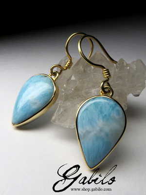 Made to order: Larimar Gold Earrings