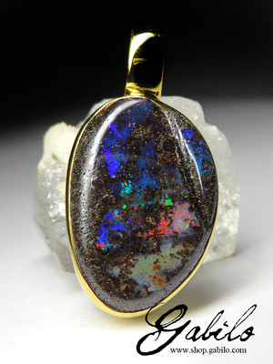 Bright Boulder Opal Silver Necklace