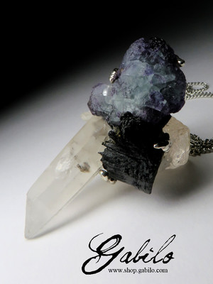 Big Rock Crystal Fluorite and Black Tourmaline Pendant