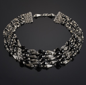 Cascade Black from Glass and Metal Beads