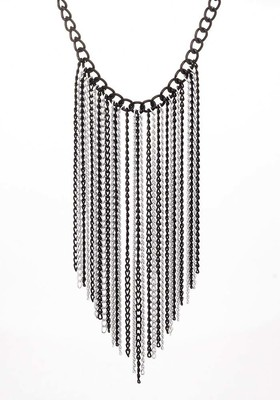 Decoration from black and white chains sheer