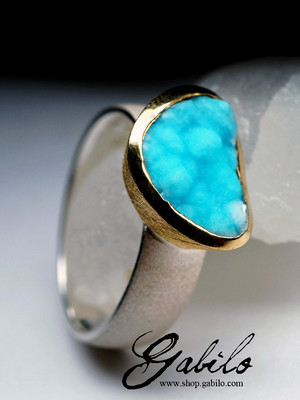 Ring with gemimorphite gilding
