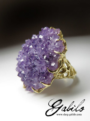 Big Purple Amethyst Crystal Gold Ring
