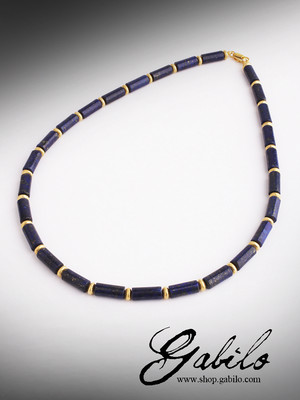 Beads made of lapis lazuli with gold