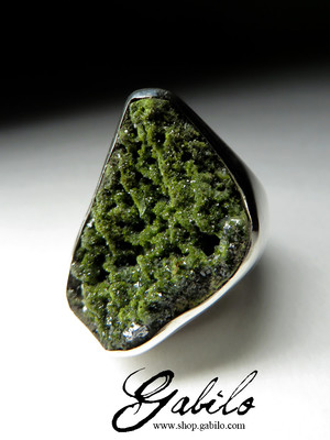 Silver ring with epidote