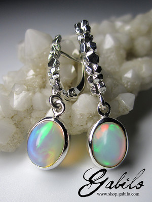 Ethiopian opal silver earrings