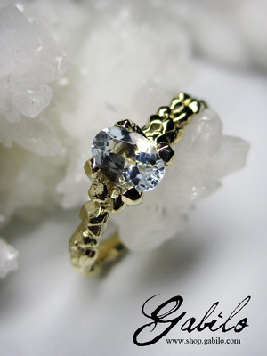 Aquamarine gold ring with jewellery report MSU