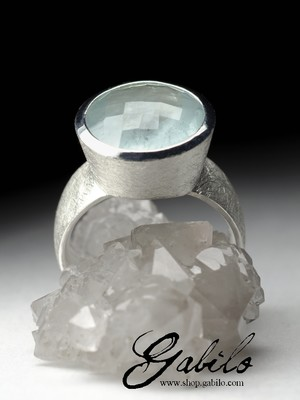 Men`s aquamarine silver ring