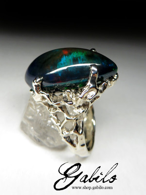 Made to order: Black Ethiopian Opal Gold Ring