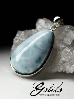 Larimar Metal Pendant with gem report MSU