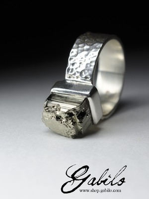 Silver ring with pyrite