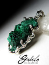 Silver pendant with malachite