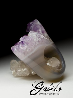 Big Amethyst Solid Stone Ring