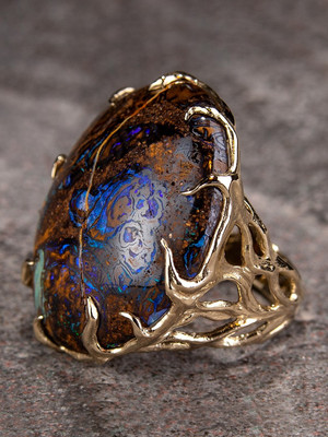 Boulder opal gold ring Blueprint