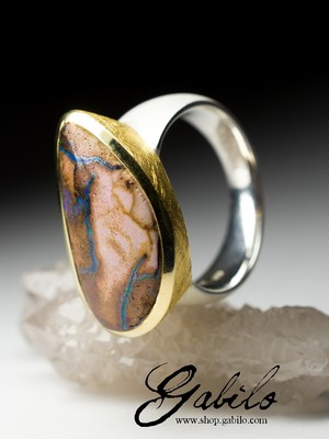 Big Koroit Opal Silver Ring