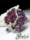 Big Amethyst Flower Silver Necklace