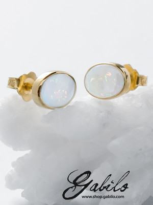 Gold plated silver earrings with opal