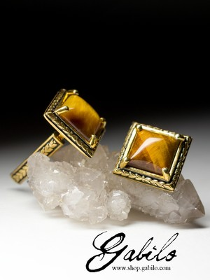 Cufflinks with a tiger's eye