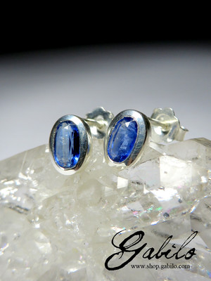 Kyanite silver earrings with Gem Report MSU