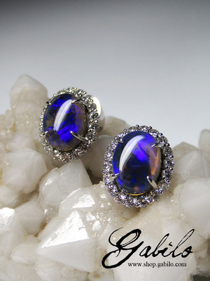 Black opal and diamonds gold earrings