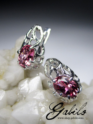 Rubellite Silver Earrings