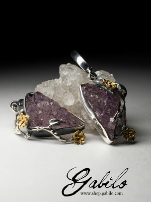 Amethyst Crystals Silver Earrings