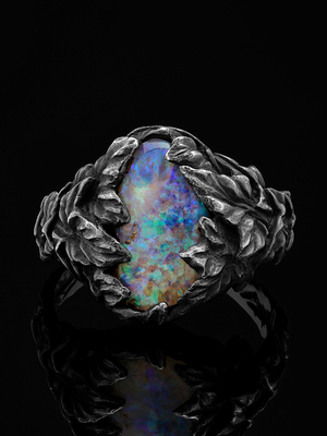 Blackened silver ring with Australian opal