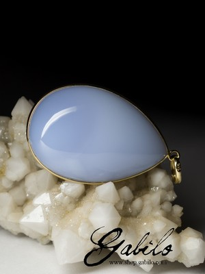 Blue Chalcedony Gold Necklace