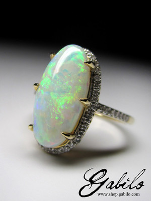 Opal and Diamonds Gold Ring