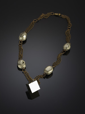 Necklace made of pyrite and marcasite on bronze chains