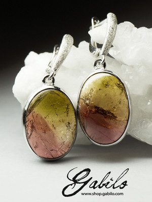 Silver earrings with polychrome tourmaline