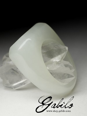 One-piece white jade ring