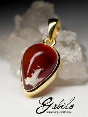 Made to order: Fire opal gold pendant