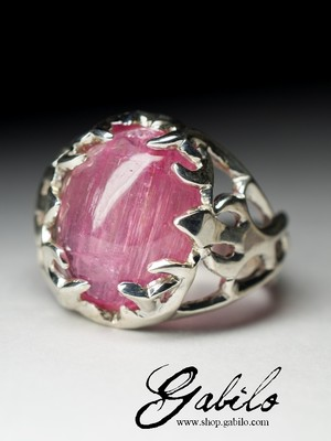 Rubellite with Cat's Eye Effect Silver Ring