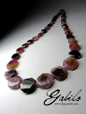 Slices Polychrome Tourmaline Beaded Necklace
