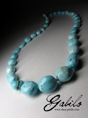 Beads of blue bright turquoise