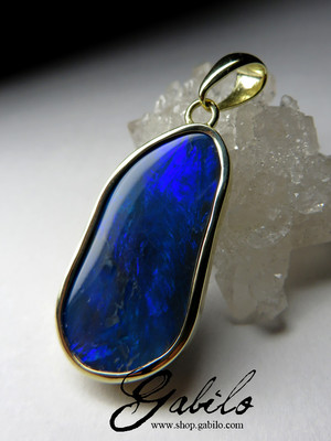 Made to order: Black opal gold pendant
