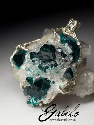 Made to order: Silver pendant with dioptase