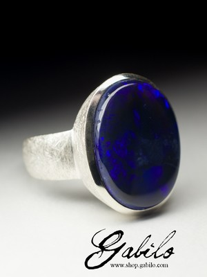 Large ring with black opal