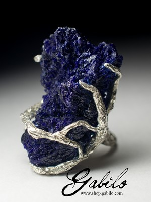 Big Azurite Silver Ring