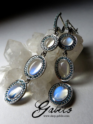 Made to order: Moonstone gold earrings with blue diamonds