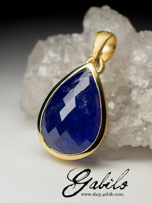 Silver pendant with tanzanite gilding