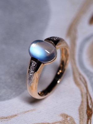 Moonstone and Diamonds Gold Ring