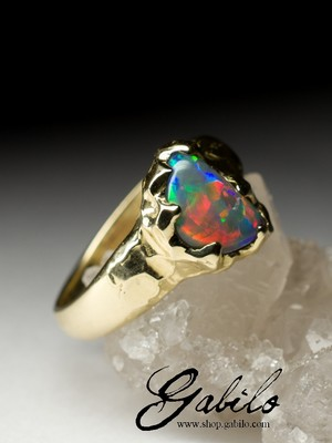 Made to order: Black Harlequin opal gold ring